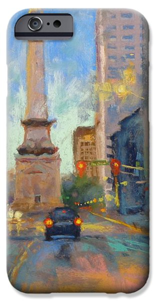 Donna Shortt iPhone Cases - Indy Monument at Twilight iPhone Case by Donna Shortt