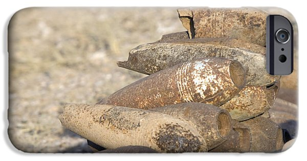 Iraq iPhone Cases - Inert Artillery Shells Are Stacked iPhone Case by Terry Moore