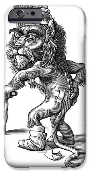Injured Lion, Conceptual Artwork iPhone Case by Bill Sanderson