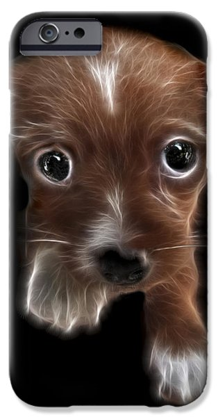 Puppy Digital Art iPhone Cases - Innocent Loving Eyes	 iPhone Case by Peter Piatt