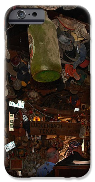 Inside the Bar in Luckenbach TX iPhone Case by Susanne Van Hulst