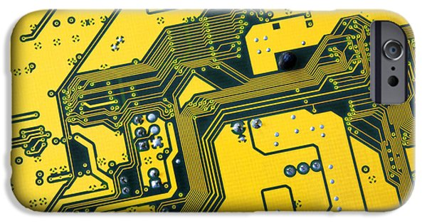 Data Photographs iPhone Cases - Integrated circuit iPhone Case by Carlos Caetano