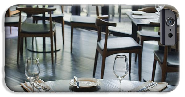 Table Wine iPhone Cases - Interior of Restaurant iPhone Case by Shannon Fagan