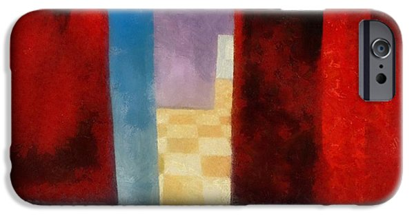 Skewed iPhone Cases - Interior with Red Walls iPhone Case by Michelle Calkins