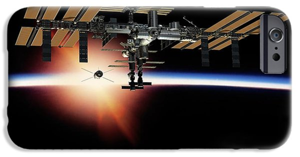 2000s iPhone Cases - International Space Station, Artwork iPhone Case by David Ducros