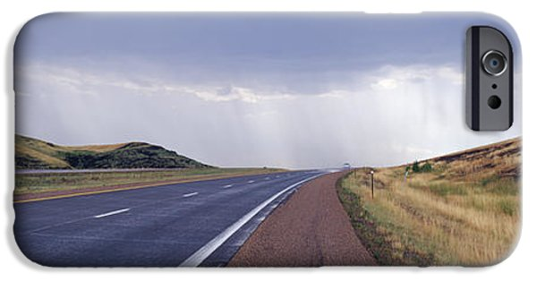 Pathway iPhone Cases - Interstate Highway near Badlands National Park iPhone Case by Jeremy Woodhouse