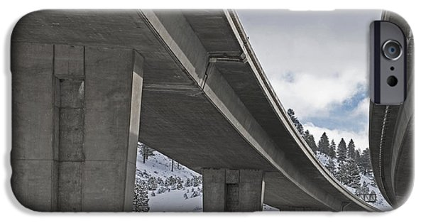 Snowy Day iPhone Cases - Interstate Overpass in Winter iPhone Case by Dave & Les Jacobs