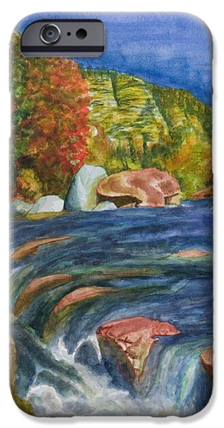 Oak Creek Paintings iPhone Cases - Into Slide Rock iPhone Case by Eric Samuelson