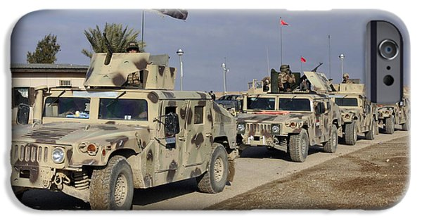 Baghdad iPhone Cases - Iraqi Army Soldiers Aboard M1114 Humvee iPhone Case by Stocktrek Images