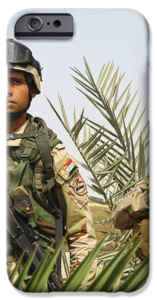 Iraqi Soldiers Conduct A Foot Patrol iPhone Case by Stocktrek Images