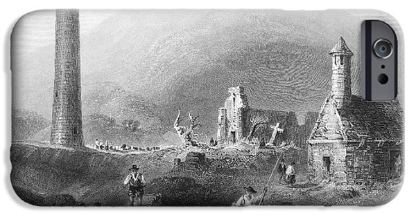 1840 iPhone Cases - Ireland: Glendalough, 1840 iPhone Case by Granger