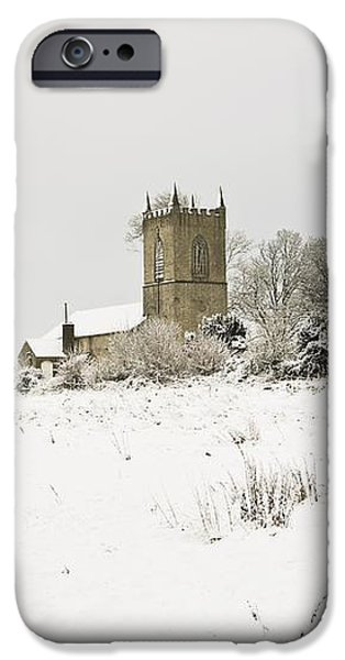 Ireland Winter Landscape With Church iPhone Case by Peter McCabe