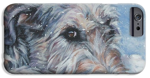 Snow iPhone Cases - Irish Wolfhound resting iPhone Case by Lee Ann Shepard