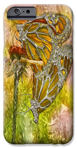 Painter Photo Digital Art iPhone Cases - Iron Butterflys iPhone Case by Jack Zulli