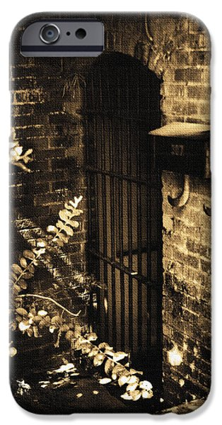 Iron Door Sepia iPhone Case by Kelly Hazel