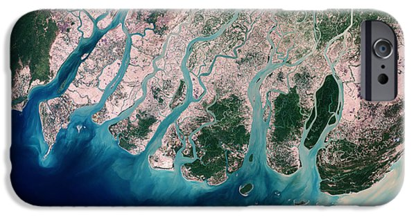 Mangrove Forest iPhone Cases - Irrawaddy River Delta iPhone Case by Nasa