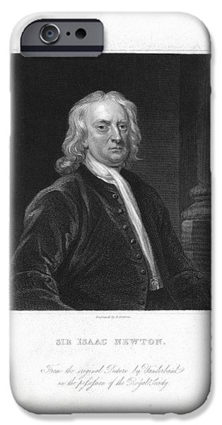 Caption iPhone Cases - Isaac Newton, English Physicist iPhone Case by Humanities & Social Sciences Librarynew York Public Library