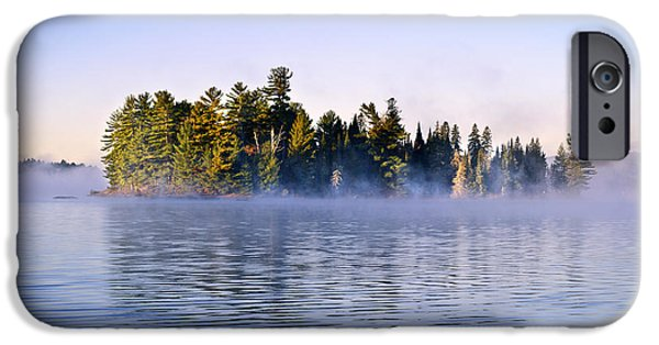 Fog Mist iPhone Cases - Island in lake with morning fog iPhone Case by Elena Elisseeva