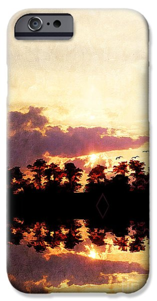 Abstract Digital Art iPhone Cases - Islands in the Sky iPhone Case by Darren Fisher