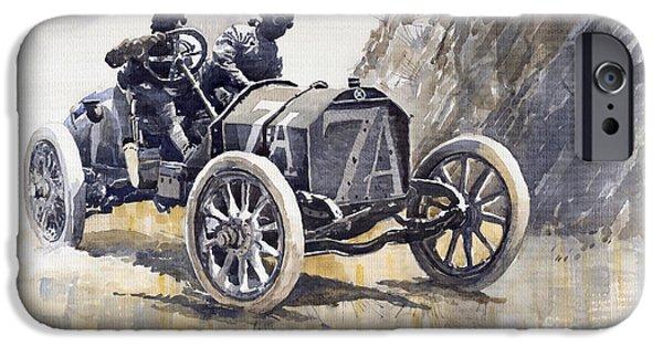 Racing iPhone Cases - Isotta Fraschini 50HP 1908 Targa Florio  iPhone Case by Yuriy  Shevchuk