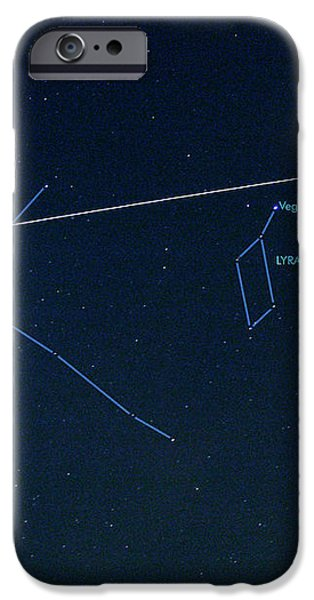 Iss Light Trail And Constellations iPhone Case by Detlev Van Ravenswaay