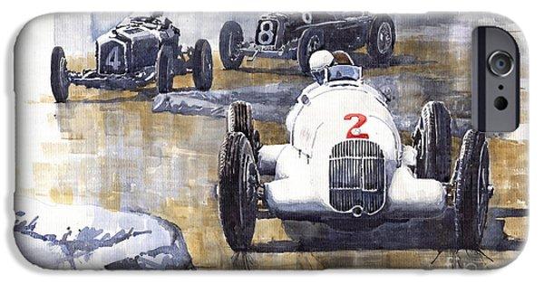 Vintage Sport Cars iPhone Cases - Italian GP 1934 MB W25 Alfa Romeo P3 Maserati Tipo 34 iPhone Case by Yuriy  Shevchuk