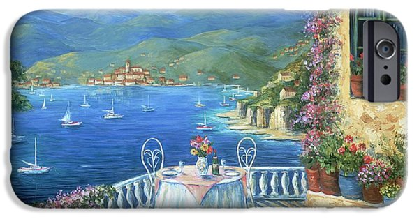 Cliff iPhone Cases - Italian Lunch On The Terrace iPhone Case by Marilyn Dunlap