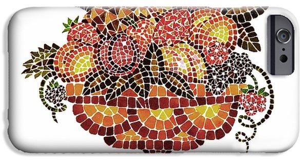 Mosaic iPhone Cases - Italian Mosaic Vase With Fruits iPhone Case by Irina Sztukowski