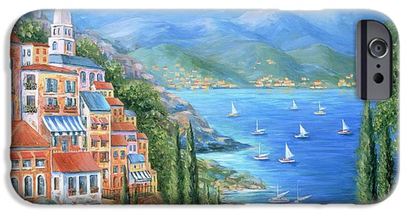 Harbor Paintings iPhone Cases - Italian Village By The Sea iPhone Case by Marilyn Dunlap