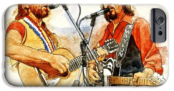 Celebrities Mixed Media iPhone Cases - Its Country - 7  Waylon Jennings Willie Nelson iPhone Case by Cliff Spohn