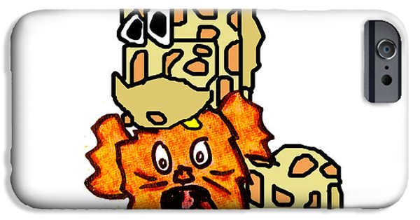 Puppy Digital Art iPhone Cases - Izzy as Giraffe iPhone Case by Jera Sky