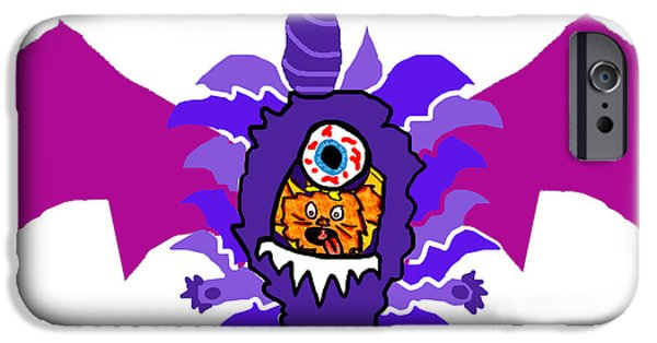 Puppy Digital Art iPhone Cases - Izzy Purple People Eater Costume iPhone Case by Jera Sky