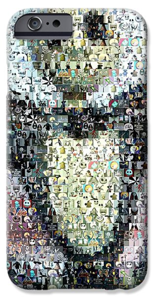 Christmas Mixed Media iPhone Cases - Jack Skellington Mosaic iPhone Case by Paul Van Scott