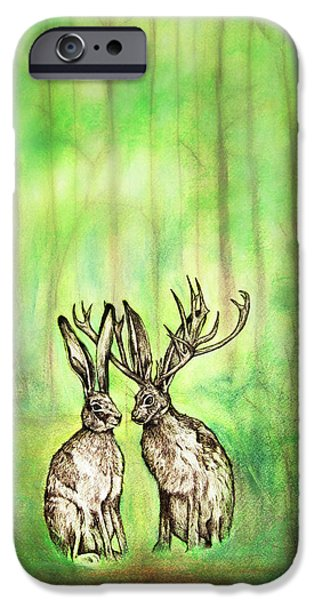 Animal Cards Pastels iPhone Cases - Into The Woods iPhone Case by Carrie Jackson