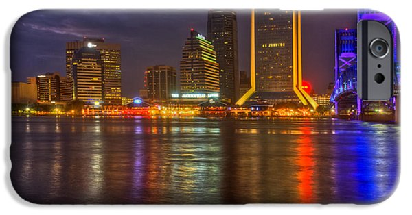 St. Johns River iPhone Cases - Jacksonville at Night iPhone Case by Debra and Dave Vanderlaan