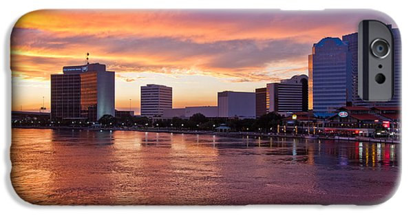 St. Johns River iPhone Cases - Jacksonville Skyline at Dusk iPhone Case by Debra and Dave Vanderlaan