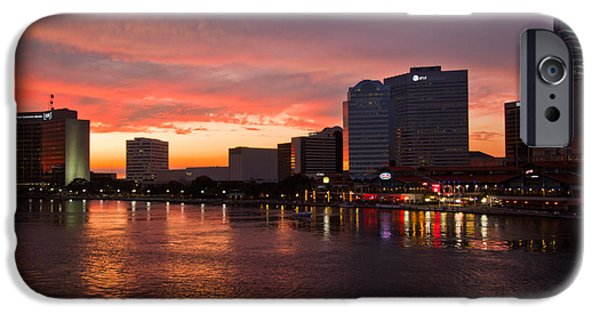 St. Johns River iPhone Cases - Jacksonville Skyline Night iPhone Case by Debra and Dave Vanderlaan