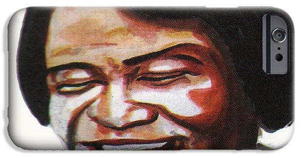 Art Of Soul Music iPhone Cases - James Brown iPhone Case by Emmanuel Baliyanga