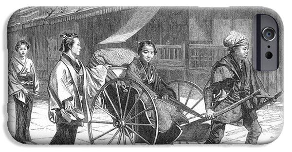 1874 iPhone Cases - Japan: Rickshaw, 1874 iPhone Case by Granger