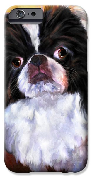 Japanese Chin iPhone Cases - Japanese Chin Portrait iPhone Case by Jai Johnson