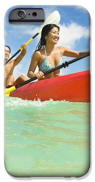 Japanese couple kayaking iPhone Case by Dana Edmunds - Printscapes