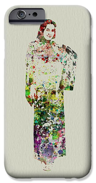 Dancing Girl Paintings iPhone Cases - Japanese Woman dancing iPhone Case by Naxart Studio