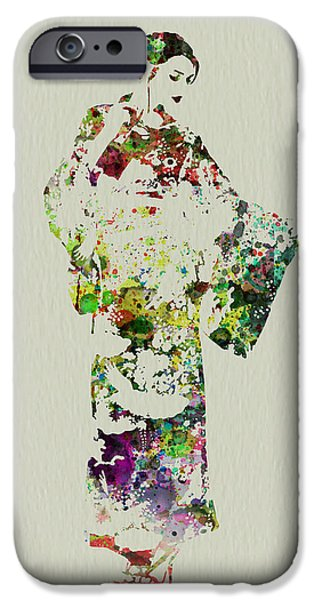 Perform iPhone Cases - Japanese woman in kimono iPhone Case by Naxart Studio