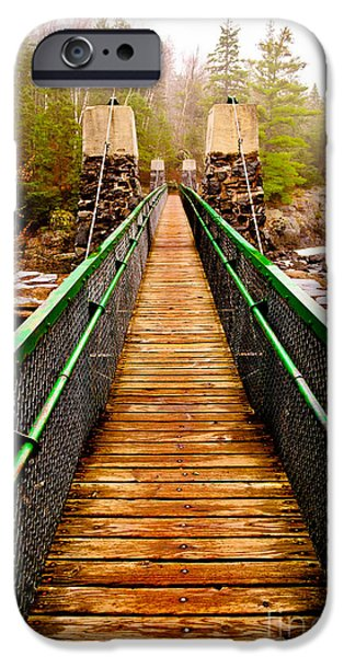 Jay iPhone Cases - Jay Cooke Hanging Bridge In Fog iPhone Case by Shutter Happens Photography