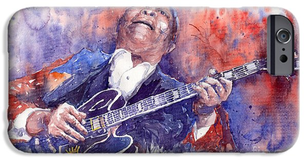 America Paintings iPhone Cases - Jazz B B King 05 Red iPhone Case by Yuriy  Shevchuk
