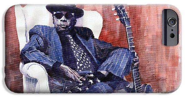 Watercolour Paintings iPhone Cases - Jazz Bluesman John Lee Hooker 02 iPhone Case by Yuriy  Shevchuk