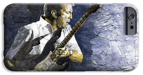 Musicians Paintings iPhone Cases - Jazz Eric Clapton 1 iPhone Case by Yuriy  Shevchuk