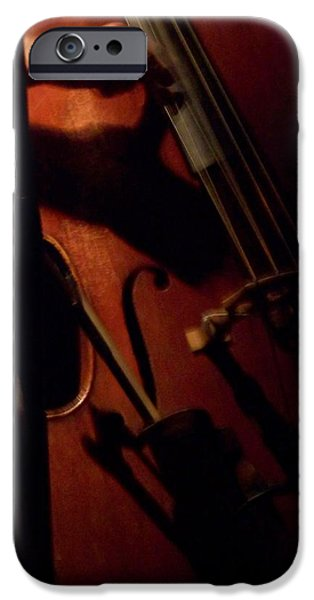 Upright Bass iPhone Cases - Jazz Estate 1 iPhone Case by Anita Burgermeister