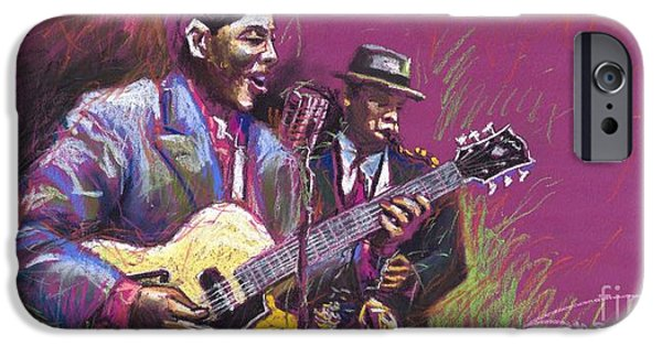 Pastel iPhone Cases - Jazz Guitarist Duet iPhone Case by Yuriy  Shevchuk