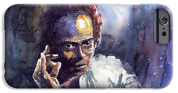 Miles-davis iPhone Cases - Jazz Miles Davis 11 iPhone Case by Yuriy  Shevchuk
